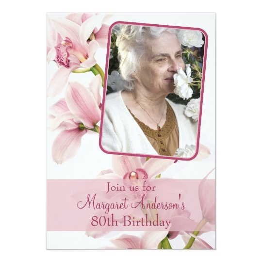 80th Birthday Invitation | Photo | Pink Orchid