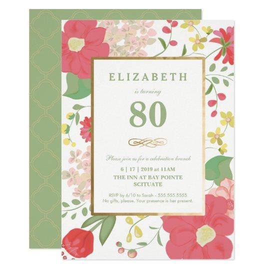 80th Birthday Invitation - Pretty Floral Eightieth