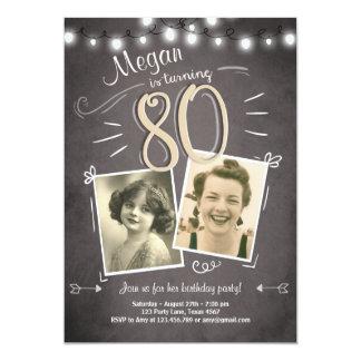 80th Birthday Invitation Vintage Eighty Birthday