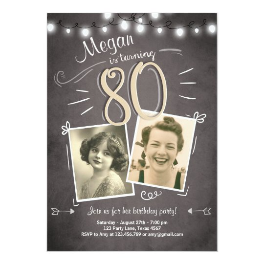 80th Birthday Invitation Vintage Eighty