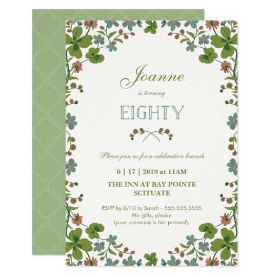 80th Birthday Invitation, Vintage Floral Eightieth Card