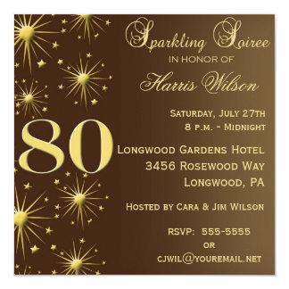 """80th Birthday Invitations 5.25"""" Square Invitation Card"""