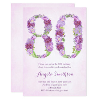 80th birthday invitations for lady, eightieth