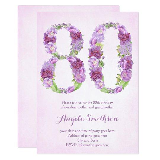 80th birthday invitations for lady, eightieth