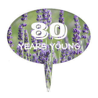 80th Birthday Lavender Floral Cake Topper
