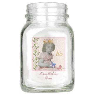 80th Birthday Mason Jar Vase