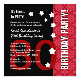 80th Birthday Modern Red and Black Funny D80A 13 Cm X 13 Cm Square Invitation Card