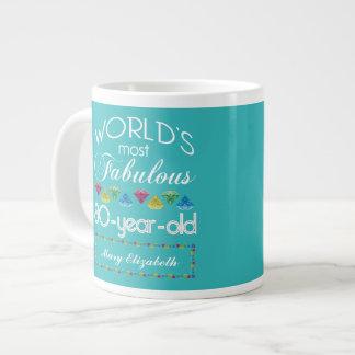 80th Birthday Most Fabulous Colorful Gem Turquoise Jumbo Mug