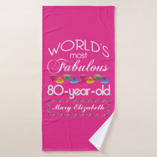 80th Birthday Most Fabulous Colorful Gems Pink Bath Towel
