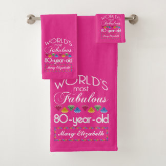 80th Birthday Most Fabulous Colorful Gems Pink Bath Towel Set