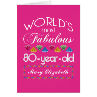 80th Birthday Most Fabulous Colorful Gems Pink Card