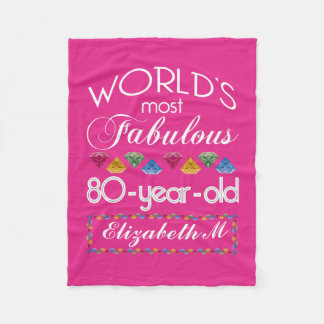80th Birthday Most Fabulous Colorful Gems Pink Fleece Blanket