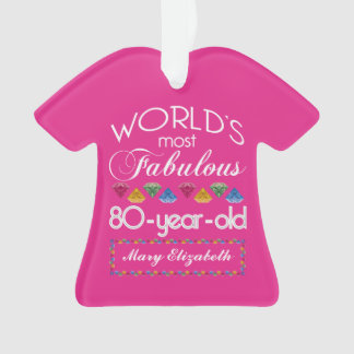 80th Birthday Most Fabulous Colorful Gems Pink Ornament