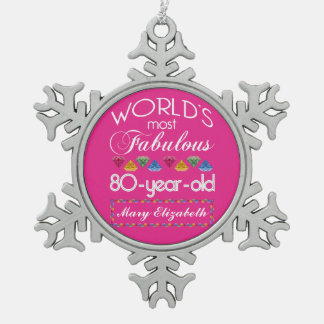 80th Birthday Most Fabulous Colorful Gems Pink Pewter Snowflake Decoration