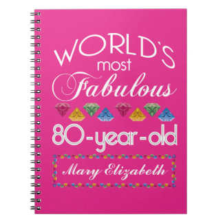 80th Birthday Most Fabulous Colorful Gems Pink Spiral Note Books