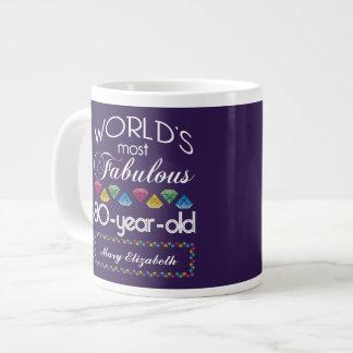 80th Birthday Most Fabulous Colorful Gems Purple Extra Large Mug
