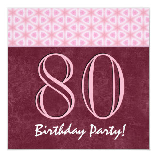 80th Birthday or Any Year Red and Pink V02 13 Cm X 13 Cm Square Invitation Card