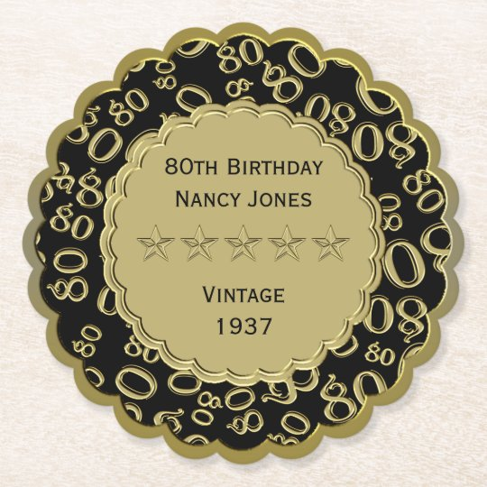 80th Birthday Party Black and Gold Theme Paper