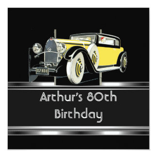 "80th Birthday Party Black Vintage Car Mans 5.25"" Square Invitation Card"