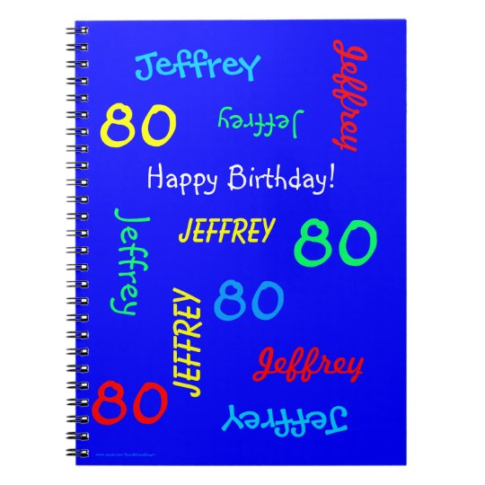 80th Birthday Party Blue Guest Book Repeating Name