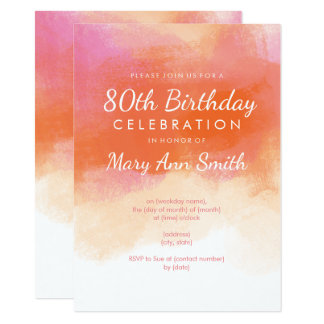 80th Birthday Party Blush Pink Watercolor Card