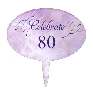 80th Birthday Party Cake Picks
