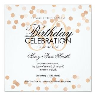80th Birthday Party Copper Foil Glitter Lights 13 Cm X 13 Cm Square Invitation Card
