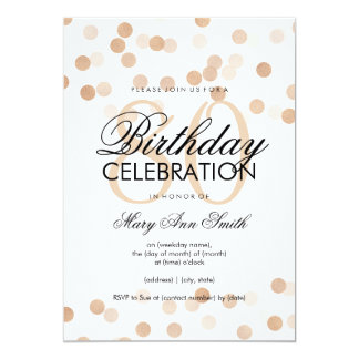80th Birthday Party Copper Foil Glitter Lights Card
