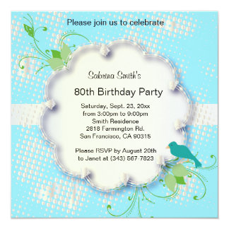 80th Birthday Party | DIY Text 13 Cm X 13 Cm Square Invitation Card