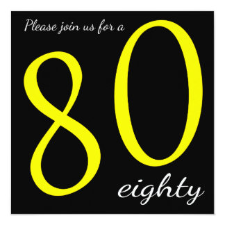 80th Birthday Party  | DIY Text 13 Cm X 13 Cm Square Invitation Card