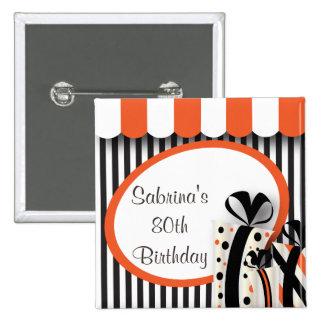 80th Birthday Party | DIY Text | Orange 15 Cm Square Badge