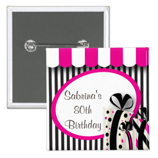 80th Birthday Party | DIY Text | Pink 15 Cm Square Badge