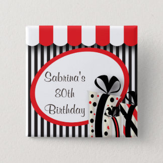 80th Birthday Party   DIY Text   Red 15 Cm Square Badge