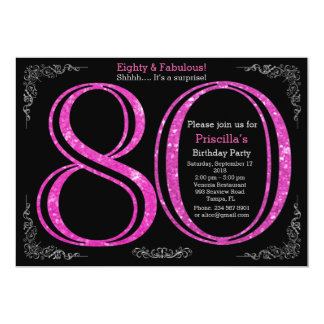 80th, Birthday party, Eighty, Gatsby, black silver 13 Cm X 18 Cm Invitation Card