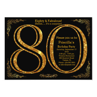 80th Birthday party,Eighty,great Gatsby,black&gold 13 Cm X 18 Cm Invitation Card