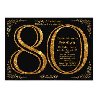 80th Birthday party,Eighty,great Gatsby,black&gold 13 Cm X 18 Cm Invitation Card