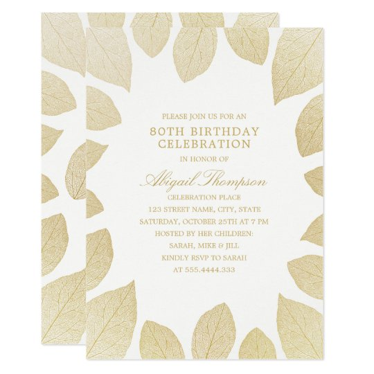 80th Birthday Party Elegant Gold Leaves Card