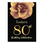 80th Birthday Party Elegant GOLD Rose and Black 13 Cm X 18 Cm Invitation Card