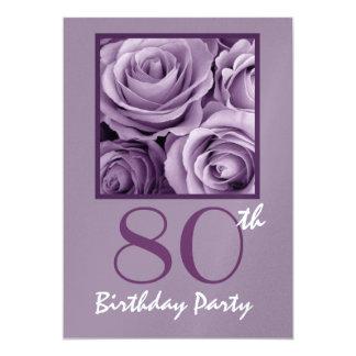 80th Birthday Party Elegant Lilac Purple Roses V01 13 Cm X 18 Cm Invitation Card