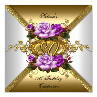80th Birthday Party Elegant Purple Gold Roses 3 13 Cm X 13 Cm Square Invitation Card