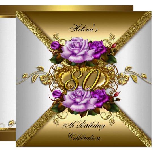 80th Birthday Party Elegant Purple Gold Roses 3