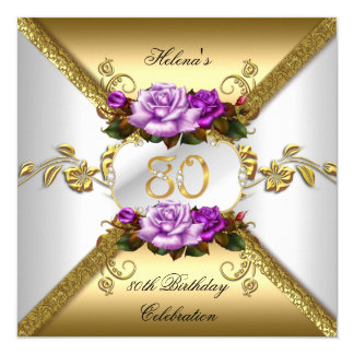 80th Birthday Party Elegant Purple Gold Roses A 13 Cm X 13 Cm Square Invitation Card