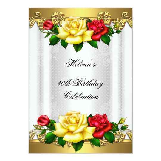 80th Birthday Party Elegant Red Gold Roses Lace