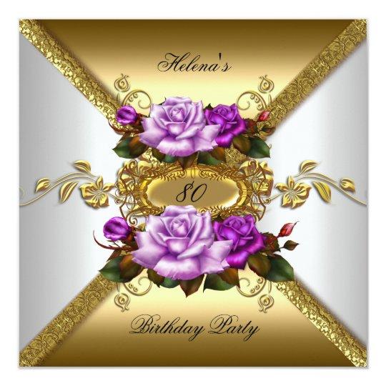 80th Birthday Party Elegant Roses Purple Gold Card