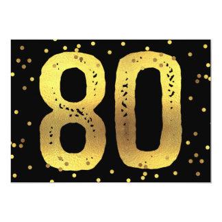 80th Birthday Party Faux Gold Foil Confetti Black 13 Cm X 18 Cm Invitation Card