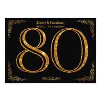 80th Birthday party,Gatsby styl,black gold glitter Card