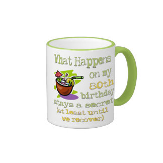 80th Birthday Party Gifts. What happens on my 80th Ringer Mug