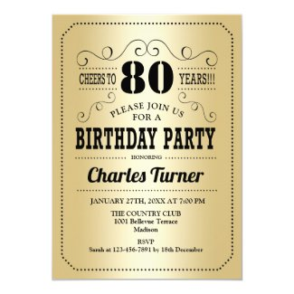 80th Birthday Party - Gold Black Invitation