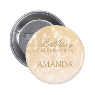 80th Birthday Party Gold Bokeh Sparkle Lights 6 Cm Round Badge