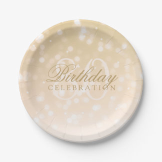 80th Birthday Party Gold Bokeh Sparkle Lights 7 Inch Paper Plate